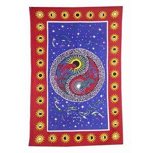 Ying Yang Dolphin Sun Moon Border Wall Tapestry